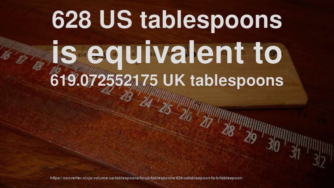 628 US tablespoons is equivalent to 619.072552175 UK tablespoons