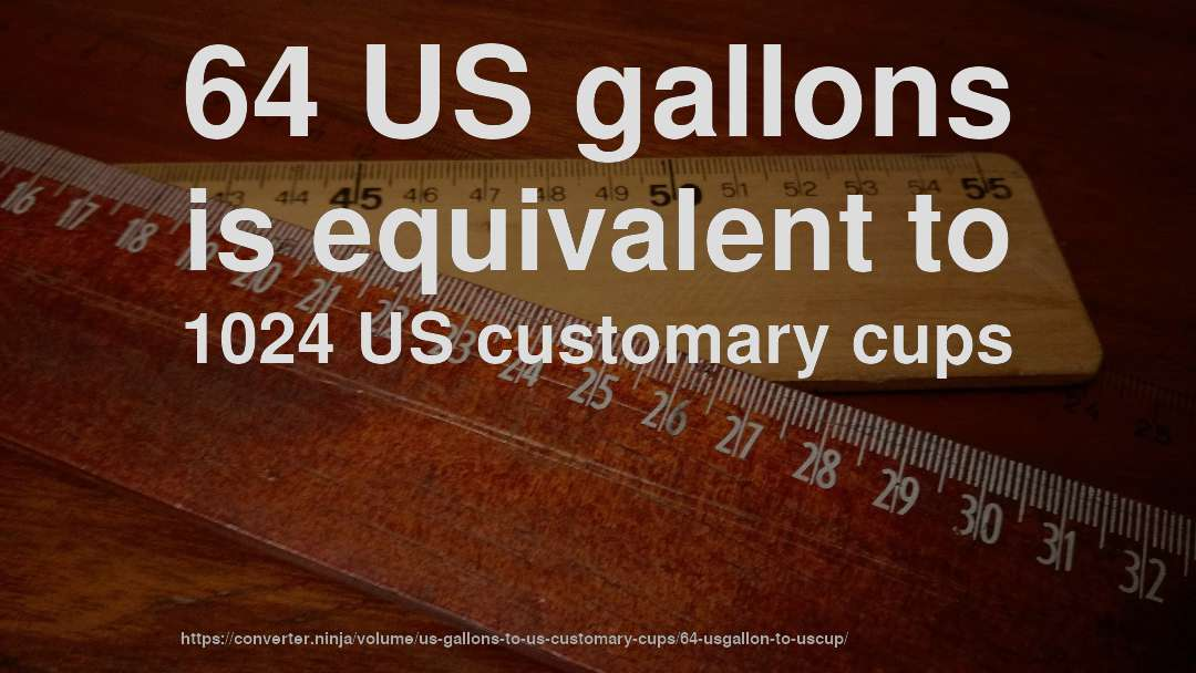 64 US gallons is equivalent to 1024 US customary cups