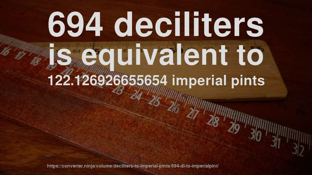 694 deciliters is equivalent to 122.126926655654 imperial pints