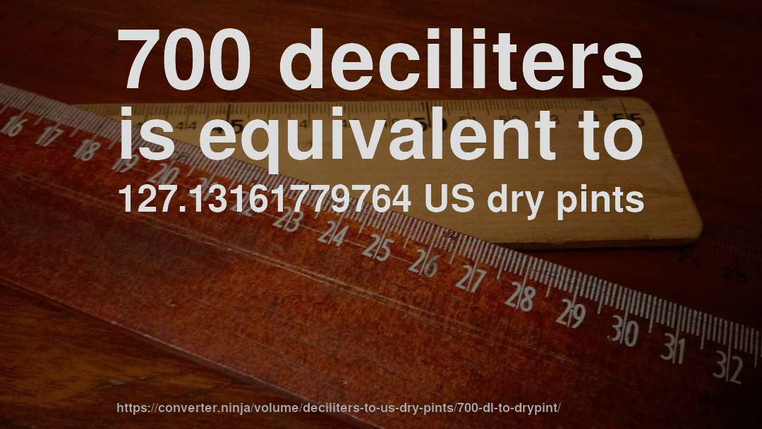 700 deciliters is equivalent to 127.13161779764 US dry pints