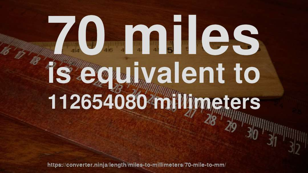 70 miles is equivalent to 112654080 millimeters
