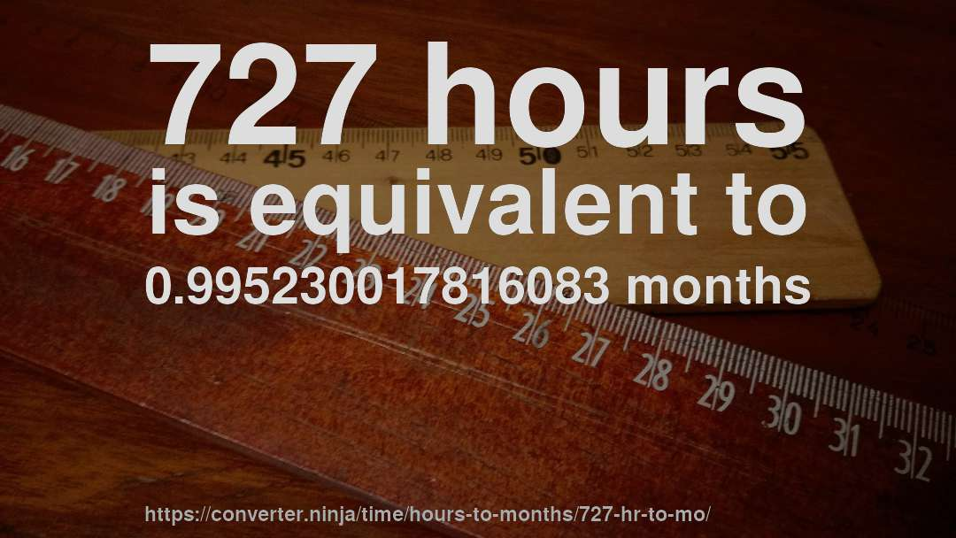 727 hours is equivalent to 0.995230017816083 months