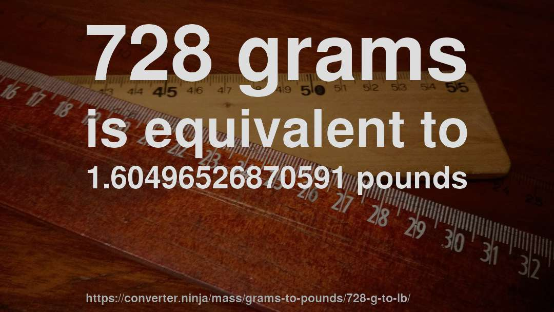 728 grams is equivalent to 1.60496526870591 pounds