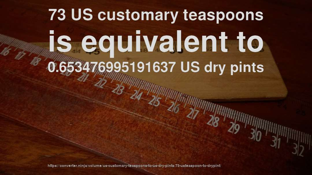 73 US customary teaspoons is equivalent to 0.653476995191637 US dry pints