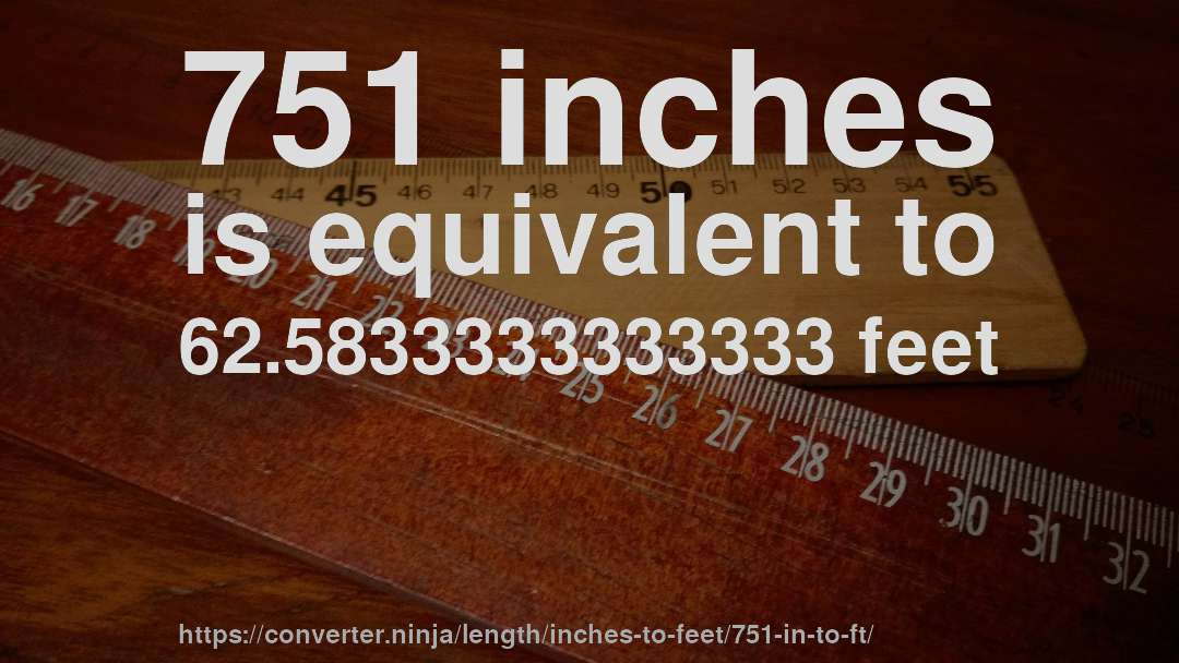 751 inches is equivalent to 62.5833333333333 feet
