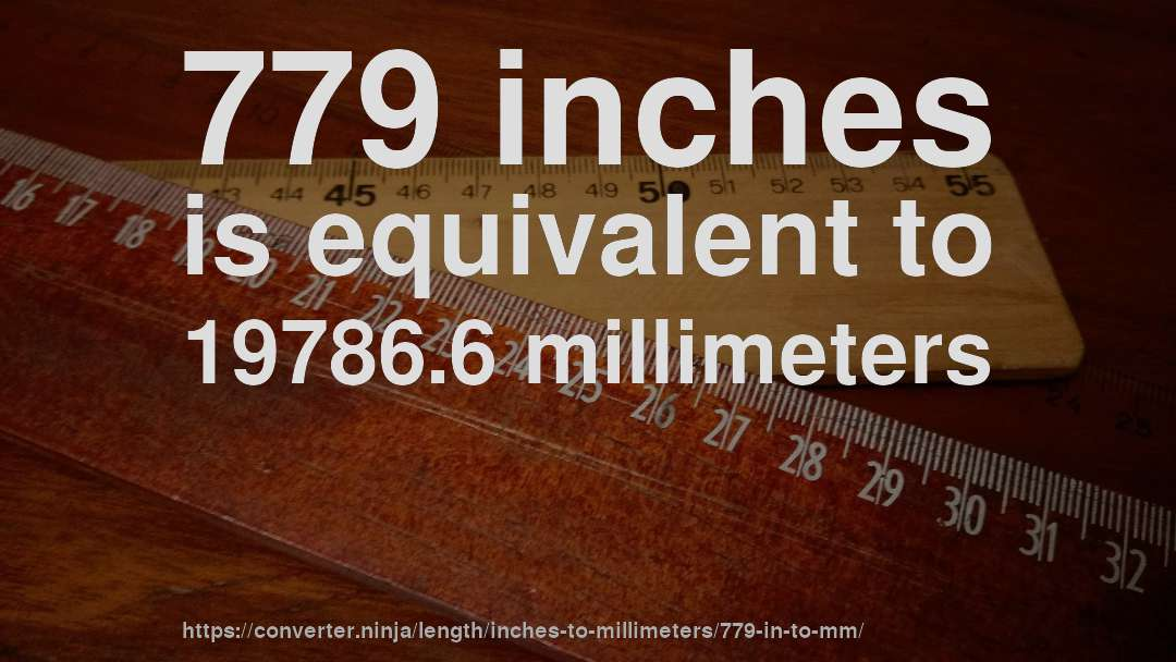 779 inches is equivalent to 19786.6 millimeters