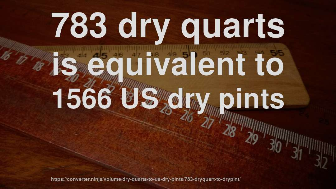 783 dry quarts is equivalent to 1566 US dry pints