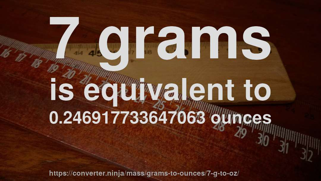 7 Grams Is Equivalent To 0 246917733647063 Ounces