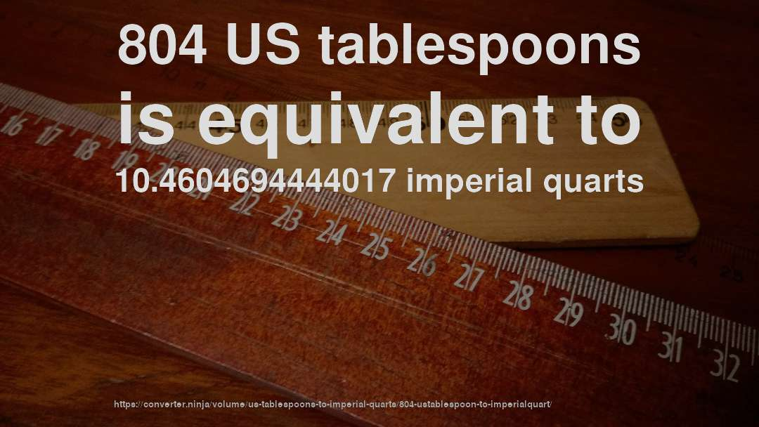 804 US tablespoons is equivalent to 10.4604694444017 imperial quarts