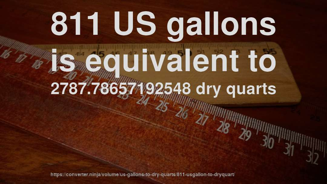 811 US gallons is equivalent to 2787.78657192548 dry quarts