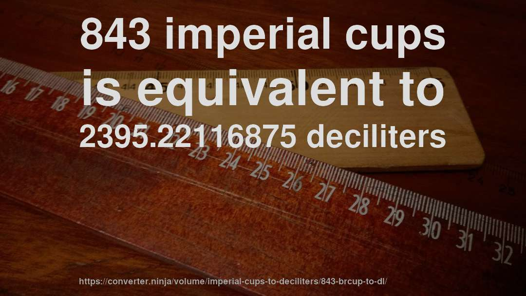 843 imperial cups is equivalent to 2395.22116875 deciliters