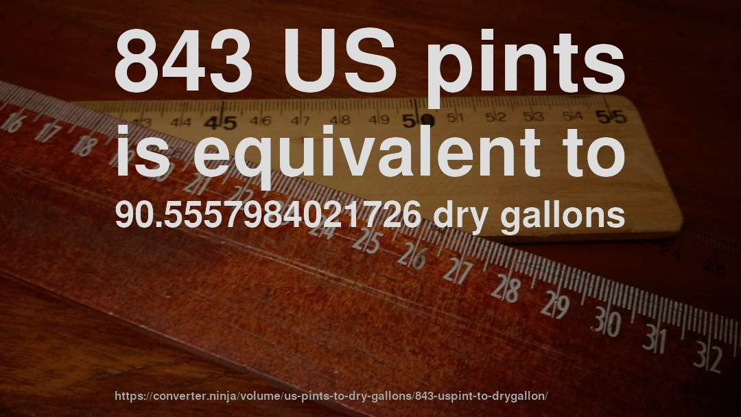 843 US pints is equivalent to 90.5557984021726 dry gallons