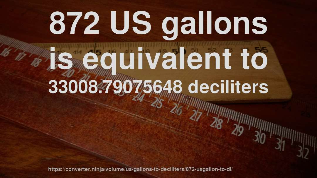 872 US gallons is equivalent to 33008.79075648 deciliters