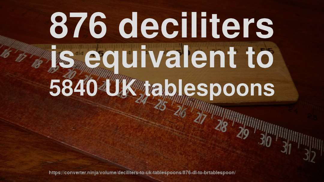 876 deciliters is equivalent to 5840 UK tablespoons