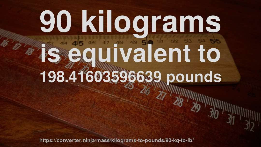 90 Kilograms Is Equivalent To 198 41603596639 Pounds