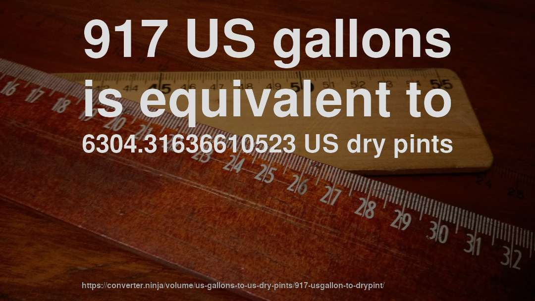 917 US gallons is equivalent to 6304.31636610523 US dry pints