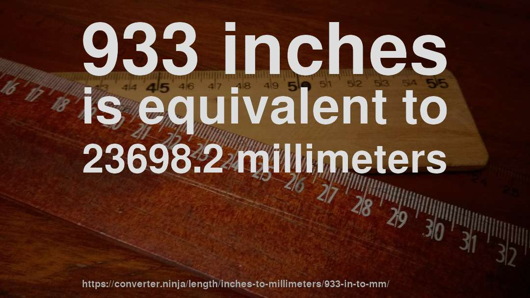 933 inches is equivalent to 23698.2 millimeters
