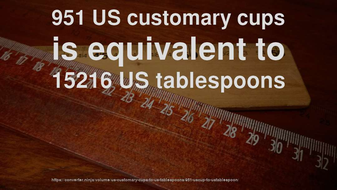 951 US customary cups is equivalent to 15216 US tablespoons