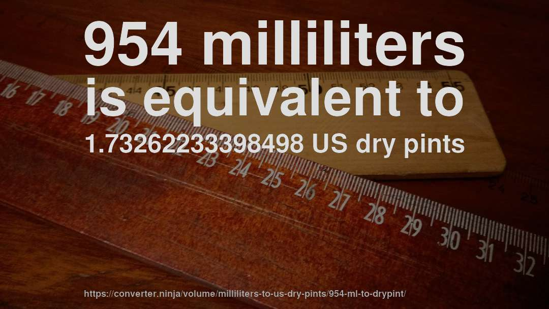 954 milliliters is equivalent to 1.73262233398498 US dry pints