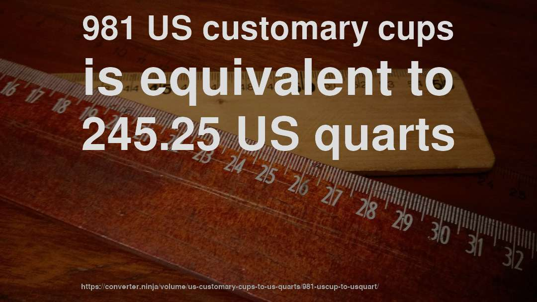 981 US customary cups is equivalent to 245.25 US quarts