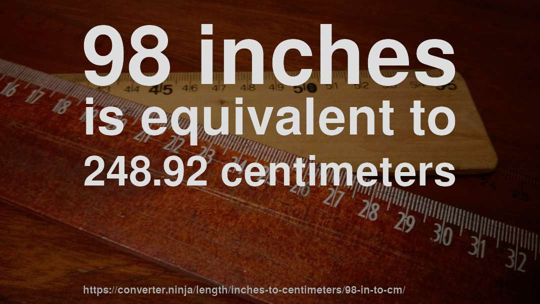 98 In To Cm How Long Is 98 Inches In Centimeters Convert