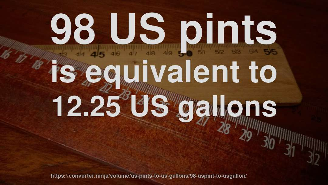 98 US pints is equivalent to 12.25 US gallons