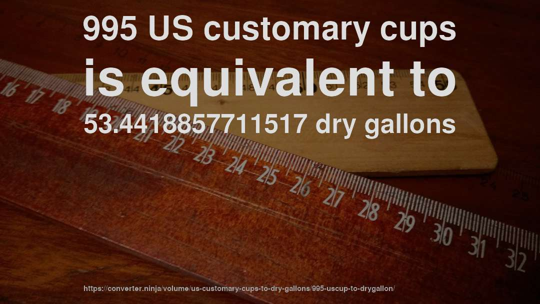 995 US customary cups is equivalent to 53.4418857711517 dry gallons