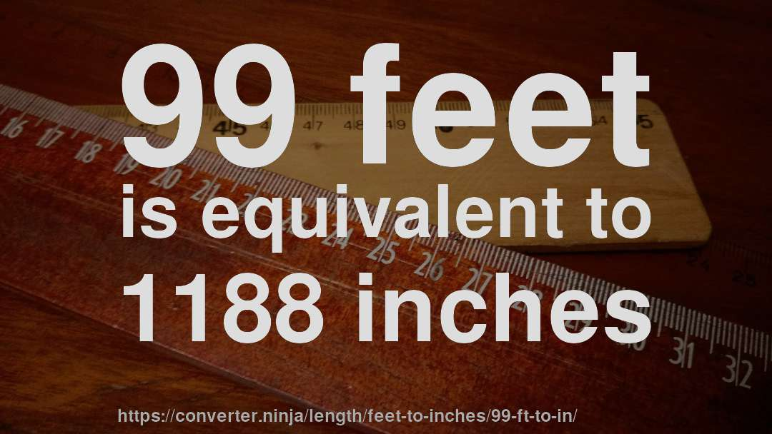 How Long Is 99 Feet In Inches