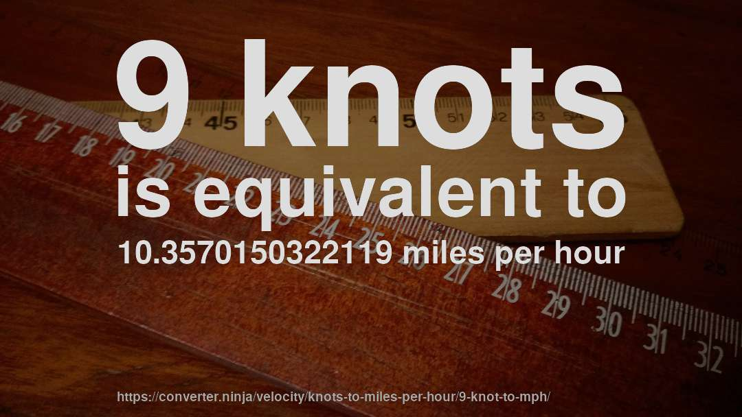 9 Knots Is Equivalent To 103570150322119 Miles Per Hour